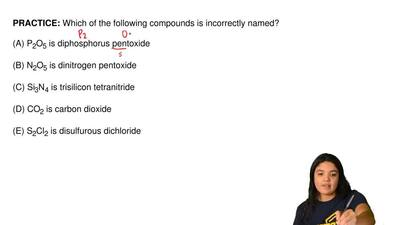 Which of the following compounds is incorrectly named?  (A) P2O5 is diphosphor...