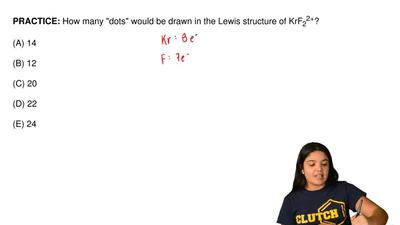 "How many ""dots"" would be drawn in the Lewis structure of KrF 22+?  (A) 14  (B)..."