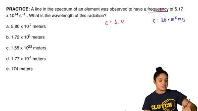 A line in the spectrum of an element was observed to have a frequesncy of 5.17...
