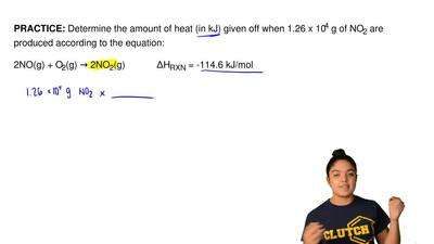 Determine the amount of heat (in kJ) given off when 1.26 x 10 4 g of NO2 are p...