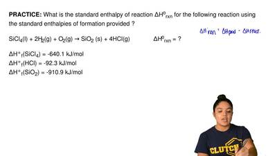 What is the standard enthalpy of reaction ΔH orxn for the following reaction u...