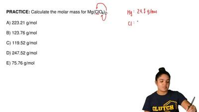 Calculate the molar mass for Mg(ClO4)2.  A) 223.21 g/mol  B) 123.76 g/mol  C) ...