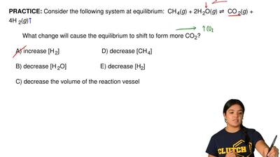 Consider the following system at equilibrium:  CH 4(g) + 2H 2O(g) ⇌  CO 2(g) +...