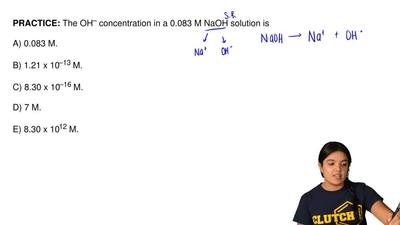 The OH– concentration in a 0.083 M NaOH solution is  A) 0.083 M.        B) 1.2...