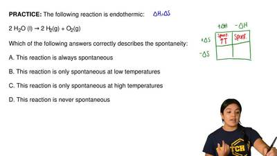 The following reaction is endothermic:  2 H2O (l) → 2 H2(g) + O2(g)  Which of ...