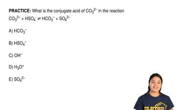 What is the conjugate acid of CO 32– in the reaction CO32– + HSO4- ⇌ HCO3– + S...