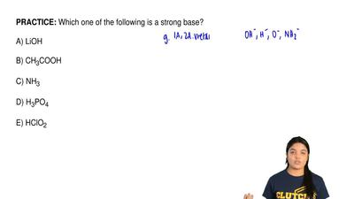 Which one of the following is a strong base?  A) LiOH  B) CH3COOH  C) NH3  D) ...