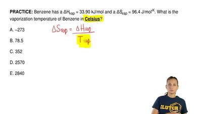 Benzene has a ΔHvap = 33.90 kJ/mol and a ΔSvap = 96.4 J/mol-K. What is the vap...
