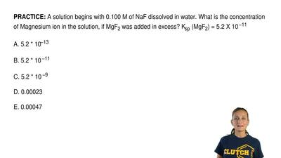 A solution begins with 0.100 M of NaF dissolved in water. What is the concentr...