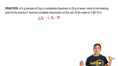 A 5 g sample of CaI2 is completely dissolved in 22 g of water, what is the fre...