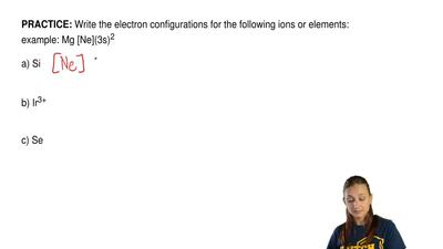 Write the electron configurations for the following ions or elements: example:...