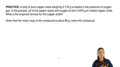 A strip of pure copper metal weighing 3.178 g is heated in the presence of oxy...