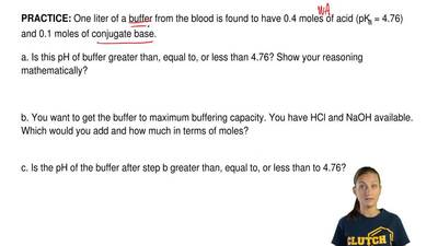 One liter of a buffer from the blood is found to have 0.4 moles of acid (pKa...