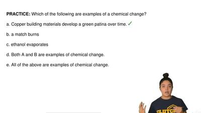 Which of the following are examples of a chemical change?  a. Copper building ...
