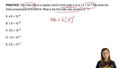 The initial rate of a reaction which is first order in A is 1.0 × 10  −6 M/s w...
