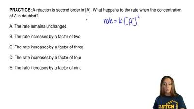 A reaction is second order in [A]. What happens to the rate when the concentra...