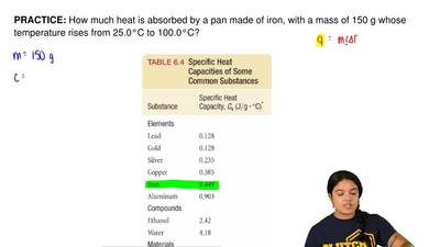 How much heat is absorbed by a pan made of iron, with a mass of 150 g whose te...