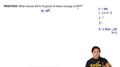 What volume will 3.12 grams of helium occupy at STP?  ...