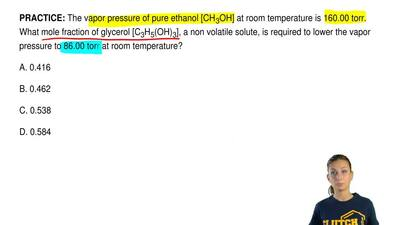 The vapor pressure of pure ethanol [CH3OH] at room temperature is 160.00 torr...