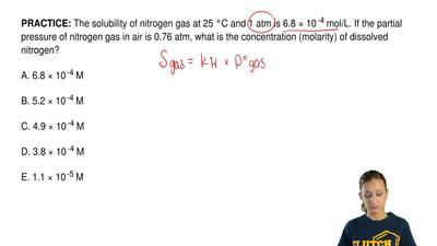 The solubility of nitrogen gas at 25 °C and 1 atm is 6.8 × 10  -4 mol/L. If th...