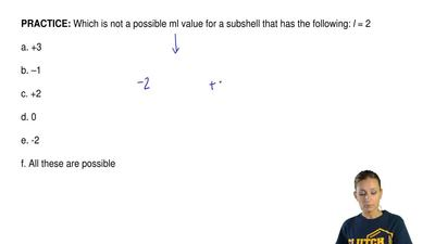 Which is not a possible ml value for a subshell that has the following:  l = 2...