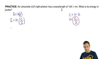 An ultraviolet (UV) light photon has a wavelength of 124.1 nm. What is its ene...