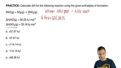 Calculate ΔH for the following reaction using the given enthalpies of formatio...