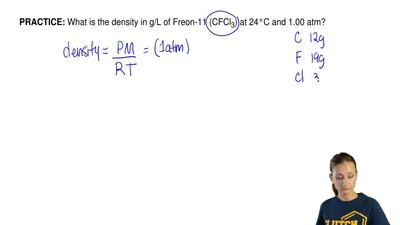 What is the density in g/L of Freon-11 (CFCl 3) at 24°C and 1.00 atm? ...