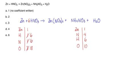 When the equation below is balanced with the smallest set of coefficients, wha...