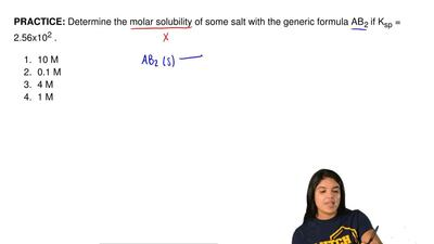 Determine the molar solubility of some salt with the generic formula AB 2 if ...