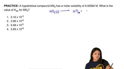 A hypothetical compound MX3 has a molar solubility of 0.00562 M. What is the v...