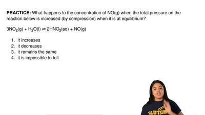 What happens to the concentration of NO(g) when the total pressure on the reac...