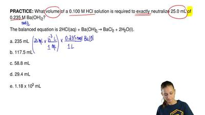 What volume of a 0.100 M HCl solution is required to exactly neutralize 25.0 m...