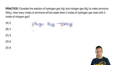 Consider the reaction of hydrogen gas (H2) and nitrogen gas (N2) to make ammon...