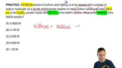 A 0.250 M solution of sulfuric acid (H2SO4) is to be reacted with a solution o...