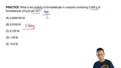 What is the molarity of formaldehyde in a solution containing 0.300 g of forma...