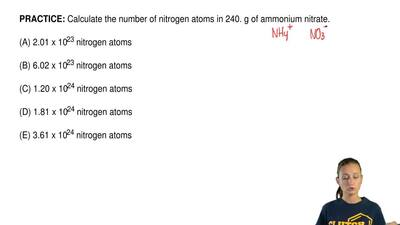 Calculate the number of nitrogen atoms in 240. g of ammonium nitrate.  (A) 2.0...
