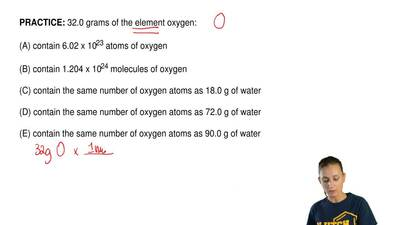 32.0 grams of the element oxygen:  (A) contain 6.02 x 1023 atoms of oxygen  (B...