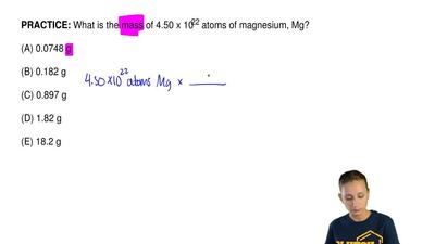 What is the mass of 4.50 x 1022 atoms of magnesium, Mg?  (A) 0.0748 g  (B) 0.1...