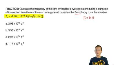Calculate the frequency of the light emitted by a hydrogen atom during a trans...