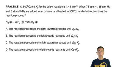 At 500oC, the Kp for the below reaction is 1.45 x10 -5. When 75 atm N2, 35 atm...
