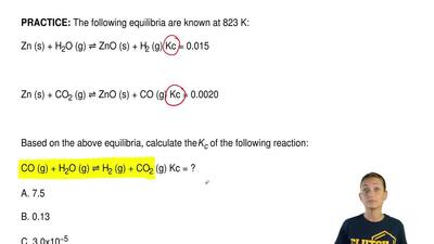 The following equilibria are known at 823 K:  Zn (s) + H2O (g) ⇌ ZnO (s) + H2 ...