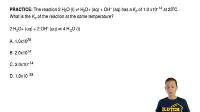 The reaction 2 H2O (l) ⇌ H3O+ (aq) + OH− (aq) has a Kc of 1.0 x10−14 at 25oC. ...