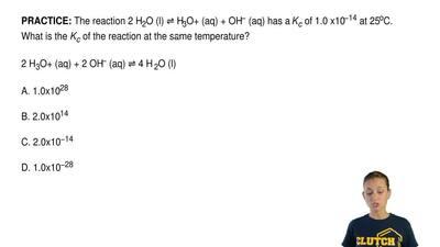 The reaction 2 H2O (l) ⇌ H3O+ (aq) + OH− (aq) has a Kc of 1.0 x10−14 at 25oC. ...