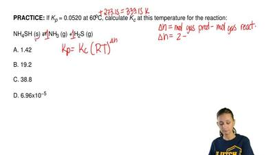 If Kp = 0.0520 at 60oC, calculate Kc at this temperature for the reaction:  NH...