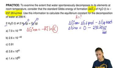 To examine the extent that water spontaneously decomposes to its elements at r...