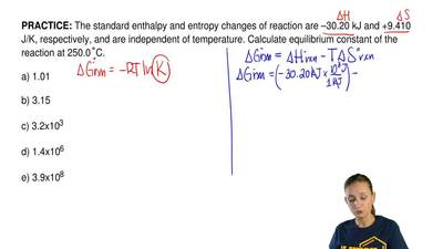 The standard enthalpy and entropy changes of reaction are –30.20 kJ and +9.410...