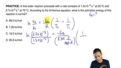 A first-order reaction proceeds with a rate constant of 1.5x10  -5 s-1 at 25°C...