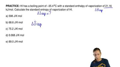 HI has a boiling point of –35.4 oC with a standard enthalpy of vaporization of...