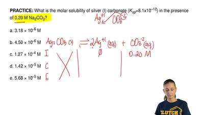 What is the molar solubility of silver (I) carbonate ( Ksp=8.1x10–12) in the p...